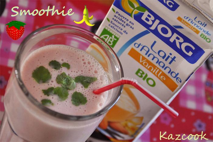 Smoothie au lait d 39 amande vanille fraises et banane la for Amande cuisine bjorg