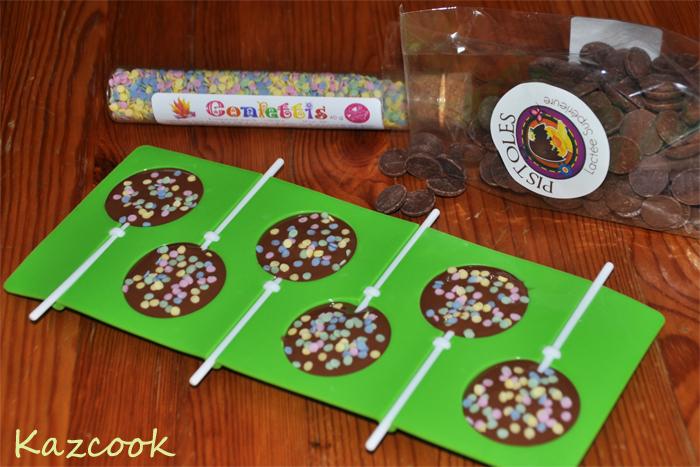 Sucettes chocolat au lait confettis la cuisine des mamans - Sucette au chocolat ...
